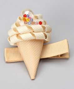 Take a look at this Vanilla Ice Cream Cone Clip by Sweet Treat Bows on #zulily today!