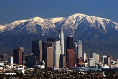 Los Angeles skyline backed by San Gabriel Mts.