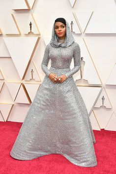 Image may contain Janelle Mone Clothing Apparel Fashion Premiere Wedding Gown Wedding Robe Gown Human and Female Lilly Singh, Oscar Fashion, Celebrity Red Carpet, Celebrity Outfits, Nice Dresses, Cool Style, High Neck Dress, Glamour, Street Style