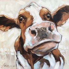 Cow Painting 8x8 inch original oil painting of a by LaveryART                                                                                                                                                                                 More