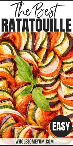 The Best Easy Baked Ratatouille Recipe - Learn how to make ratatouille - the best ratatouille recipe is EASY! This healthy baked ratatouille dish is packed with veggies (just 10 ingredients!). #wholesomeyum #keto #lowcarb #lowcarbside #ketoside #sidedish #veggies #holidayside Baked Ratatouille Recipe, How To Make Ratatouille, Veggie Recipes, Real Food Recipes, Cooking Recipes, Yummy Food, Healthy Recipes For One, Veggie Meals, Gourmet