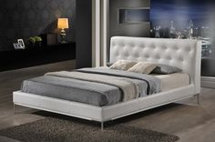 Panchal White Modern Platform Bed - Queen Size   Affordable Modern Furniture in Chicago