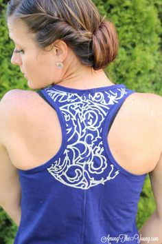 Among the Young: Cricut Design Star – Lace workout tank made with white glitter heat transfer vinyl, a Cricut Explore, and a home iron.