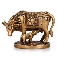 Sculpture: Purpledip Brass Kamdhenu Cow And Calf With Fine Engraving