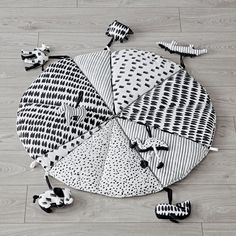 Black and White Baby Play Mat with Rattles