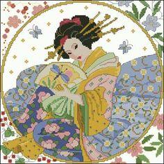 "cross-stitch design""Japanese woman"" Pattern Name: Japanese woman Fabric: Aida 14, White 140w X 140h Stitches Size(s): 14 Count, 25.40w X 25.40h cm 11 Count, 32.33w X 32.33h cm 16 Count, 22.22w X 22.22h cm 18 Count, 19.76w X 19.76h cm Colors: 29 DMC Format PDF colored symbols, RAR arhive See more oriental cross-stitch patterns See …"