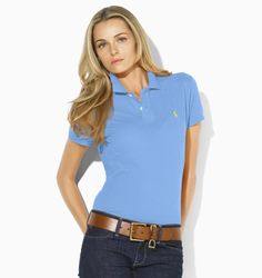 2011 Ralph Lauren Classic Polo Shirt Womens in Blue