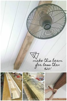 This authentic looking wood beam - less than $20 to make! A faux wood beam can be a lovely accent to a cottage or cabin ceiling - ours is a bunkie. How to make a faux beam with wood: we made ours super simply and we've shared our easy tutorial. We used our reclaimed wood-look stain to finish the project for pennies. #howto #diy #woodbeam #budget decor #cottage #cabin #bunkie