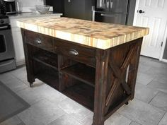 Thinking of having a beetle kill pine butcher block counter made for us. /swoon -Meg Custom butcher block kitchen island is 30 wide x 52 by RMRWoods Kitchen Island With Drawers, Kitchen Island Table, White Kitchen Cabinets, Kitchen Islands, Butcher Block Kitchen, Butcher Block Island, Kitchen Tops, Butcher Blocks, Custom Butcher Block