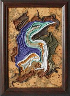 Heron, leather and cork picture, framed, handmade