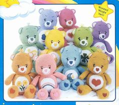 Crochet Carebears! For more like this, follow my board Crochet: Toys (Animals)~ Elinor Ferrars