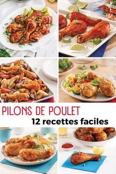 Les pilons de poulet sont souvent en rabais à l'épicerie. On les met au menu avec nos recettes faciles! Chicken Wings, Menu, Food, Moist Chicken, Root Vegetables, Easy Food Recipes, Menu Board Design, Essen, Meals