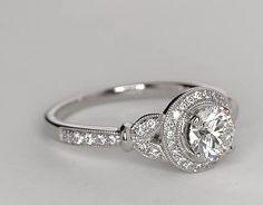 0.91 Carat Diamond Monique Lhuillier Vintage Floral Halo Diamond Engagement Ring | Recently Purchased | Blue Nile