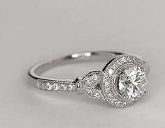 0.91 Carat Diamond Monique Lhuillier Vintage Floral Halo Diamond Engagement Ring | Recently Purchased | Blue Nile