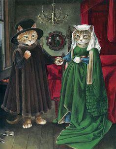 Susan Herbert: The Cat's Gallery of Art. // Cute kitty Arnolfinis.