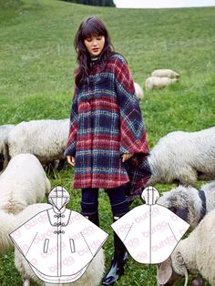 SMF Designs and Friends Burda Style Now this will keep you fashionable and warm! Coat Pattern Sewing, Cape Pattern, Vintage Sewing Patterns, Pattern Drafting, Burda Patterns, Coat Patterns, Clothing Patterns, Skirt Patterns, Blouse Patterns