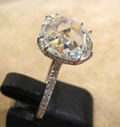5.67-carat G FL rose-cut diamond ring. Now that's too big, but pretty cut and setting.