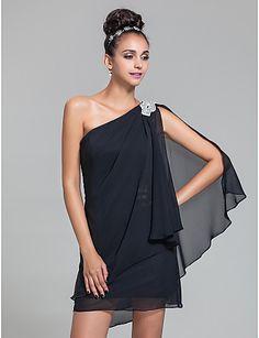 Bridesmaid Dress Short Mini Chiffon Sheath Column One Shoulder Dress (699517) – USD $ 69.99