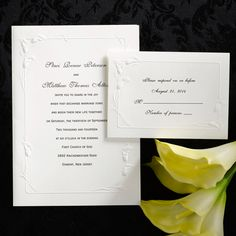 Elegant, deeply embossed calla lilies, perennial flowers that stand for endurance and longevity, grace the border of this white folder.