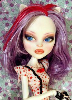 Catrine Demew ~ Monster High Dolls Custom Repaint ~ OOAK Faceup Nude Cat Doll #Mattel #monster high doll # Monster high repaint SALE NOW June 27, 2014