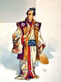 """Original John Charles Pitcher William (aka Wilhelm or C. Wilhelm) costume design for the original 1885 production of """"The Mikado"""" at the Savoy Theatre. Character not identified."""