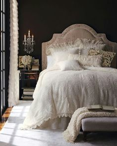 Romantic Bedroom with Black Feature Wall.  I love black and am keen to try it in the master bedroom.  This looks amazing!