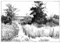 Ideas For Landscape Drawing Pencil Sketches Sketchbooks Landscape Sketch, Landscape Drawings, Urban Landscape, Landscape Art, Sketchbook Drawings, Drawing Sketches, Pencil Drawings, Art Drawings, Nature Sketch