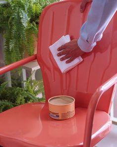 use carnauba paste wax to keep your metal furniture looking great. Once a season, apply an even coat with a damp terry cloth towel to furnishings; let dry, then lightly buff with a soft cotton rag. The wax will repel water, preventing rust, and also restore luster to dull paint