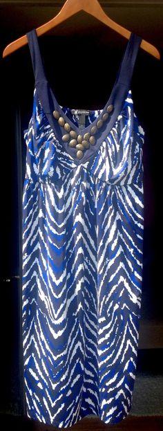 Inc International Concepts Blue White Black Spring Summer Dress Striking!!! | eBay