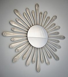 "Sunburst Spoon Handles w/ Convex Mirror 15"" -Handmade- Stainless Steel"