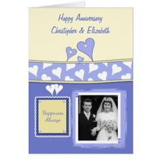 Personalized Purple Wedding Anniversary photo Card - anniversary cyo diy gift idea presents party celebration