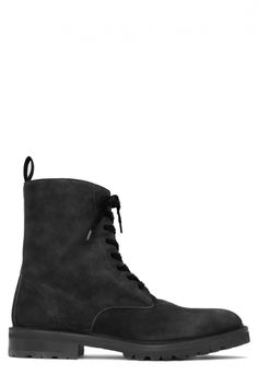 Black Suede Combat Boot : Men's Shoes | Ovadia & Sons