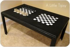 A Little Tipsy: Game Table featuring Krylon Dual Paint Game Room Tables, Table Games, Chess Table, A Table, Boys Game Room, Kids Room, Game Room Basement, Playroom, Old Coffee Tables
