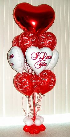 Valentine 39 s balloon display pinteres for Balloon decoration for valentines day