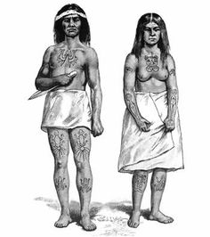 Haida couple with crest tattoos. After Swan (1886). On the man's breast is a codfish split head to tail and laid open; on each thigh is an octopus, and below each knee is a frog. On the woman's breast are the head and forepaws of a beaver; on each shoulder is the head of an eagle; on each arm is a halibut; on the right leg is a sculpin, and on the left is a frog.