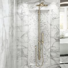 Jewels Select is a versatile collection perfect to design prestigious interiors. Discover real charm now! Stone Exterior Houses, White Master Bathroom, Marble Effect, Calacatta, Built Environment, Grey And White, Gray, Light Up, Interior And Exterior