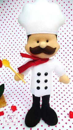 artesanato em feltro, Chef, chef de cozinha em feltro, cook felt, cozinha, cozinheiro, felt handmade, feltro, fieltro cocinero, molde chef, molde cozinheiro, molde feltro