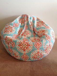 Bean Bag Linen Designer Mirage Boho Kids Cover Adults Teenagers Aqua Teal Red Orange Peach Ivory Kiwi Green