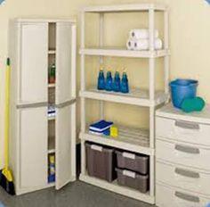 Utility Storage Cabinet 4 Shelf Putty Handles Platinum Garage Pantry Organizer #STERILITE