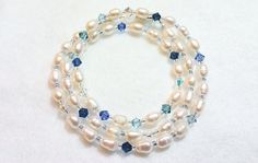 """Fresh water pearl and crystal. """"Lovena"""" Made by Donna @ Not Just Red Ones"""