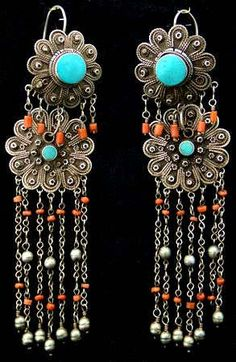 Afghanistan   Antique pair of earrings   Silver, coral and turquoise   ca. early to mid 20th century.
