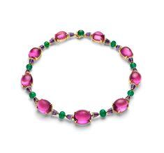 GABRIELLE'S AMAZING FANTASY CLOSET   Bvlgari Cabochon Rubellite & Emerald Necklace.