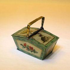 Antique tin dollhouse basket, c.1900, Germany: