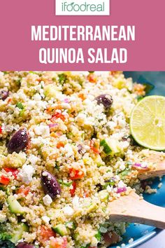 Mediterranean Quinoa Salad Recipe with quinoa tomatoes cucumbers feta cheese and olives. Packed with protein fiber and flavour healthy and easy dinner meal prep or party salad. Quinoa Salad Feta, Southwest Quinoa Salad, Mediterranean Quinoa Salad, Pea Salad, Quinoa Salad Recipes, Chickpea Recipes, Mediterranean Recipes, Healthy Recipes, Quinoa Rice