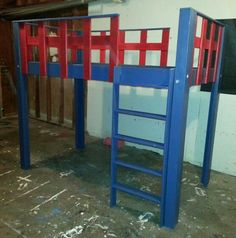 """""""Captain America"""" themed loft bed built by my husband =)"""