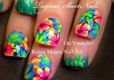 HOT Neon PINK Flower Nails! Tropical Plumeria Nail Art Design tutorial