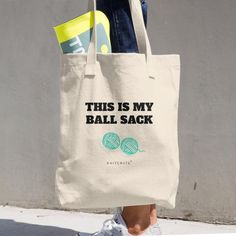 "crochet slogan tote bag /""ball sack/"" project bag"