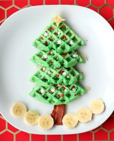No BORING waffles on your Christmas breakfast table - you HAVE to make Christmas tree ones instead!