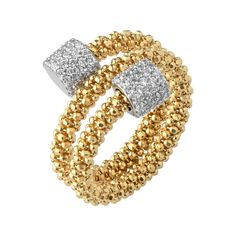 Star Dust Yellow Gold Bead Wrap Ring, Links of London Jewellery