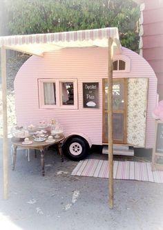 Miniature camper by Kim Saulter Tiny home house on wheels, pink travel trailer, glam glamour camping glamping, homemade awining, perfect little guest house. Vintage Caravans, Vintage Travel Trailers, Vintage Travel Posters, Tiny Trailers, Camper Trailers, Shasta Trailer, Retro Trailers, Horse Trailers, Retro Campers